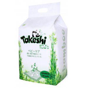 Пеленки впитывающие TAKESHI KID'S для детей бамбуковые 60*60 30 шт